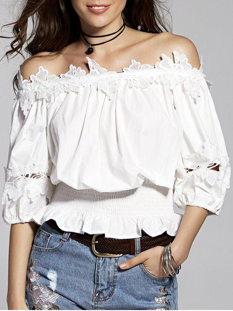 Lace Splice weg von der Schulter 3/4 Hülsen-Bluse - Weiß M Mobile