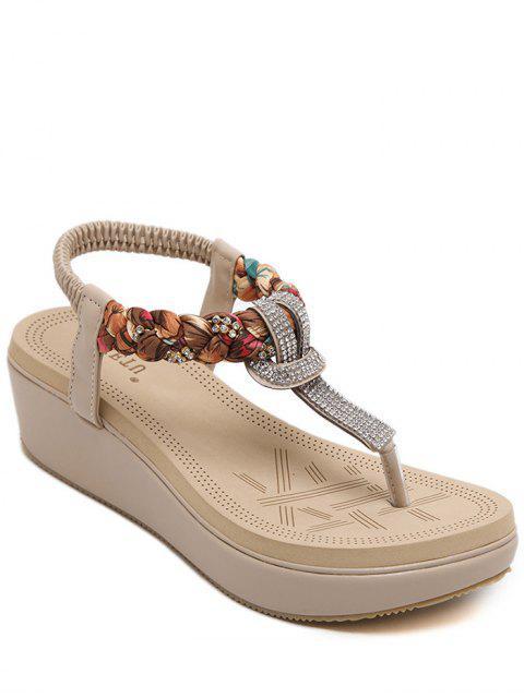 outfit Platform T-Strap Rhinestone Sandals - APRICOT 38 Mobile