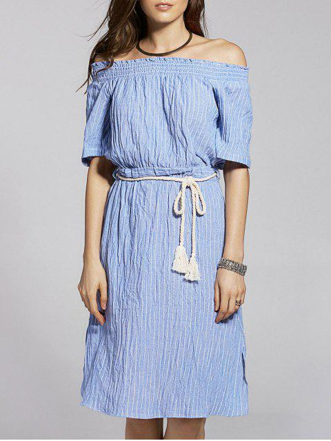 Belted Striped manches courtes Off The Robe asymétrique - Bleu M Mobile