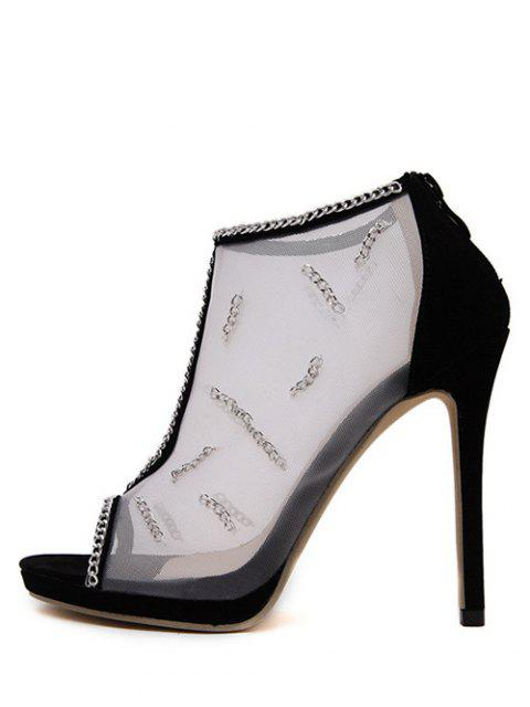 fashion Gauze Chains Stiletto Heel Peep Toe Shoes - BLACK 38 Mobile