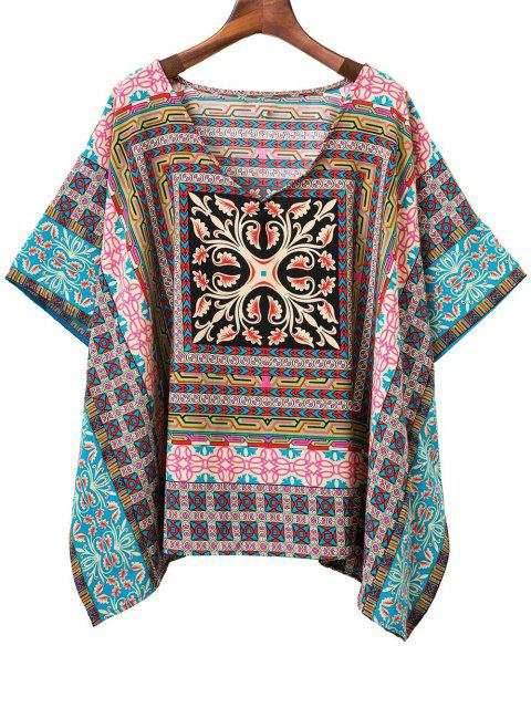 Batwing Sleeve V-Neck Printed Blouse - Multicolore M Mobile