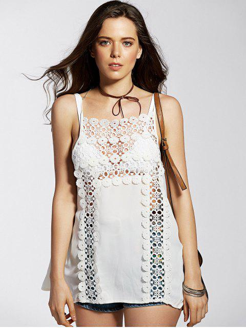 affordable Spaghetti Straps Cut Out Lace Spliced Tank Top - WHITE L Mobile