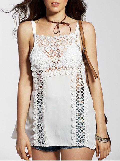 Bretelles spaghetti Cut Out Tank Top Spliced ​​Lace - Blanc L Mobile