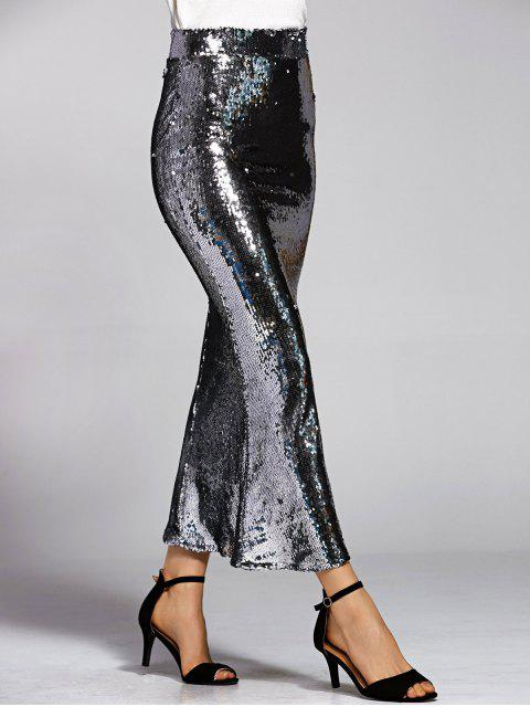 shop Silver Sequined High Waist Mermaid Skirt - SILVER S Mobile