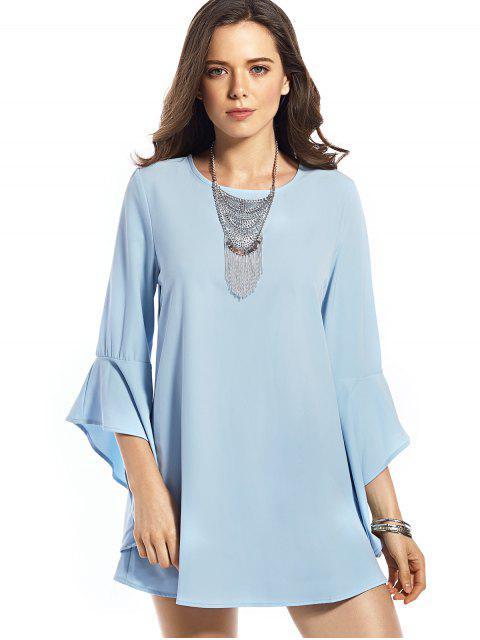 sale Flounce Round Neck Solid Color Dress - BLUE S Mobile