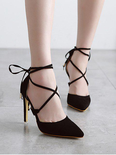chic Pointed Toe Black Lace-Up Sandals - BLACK 37 Mobile