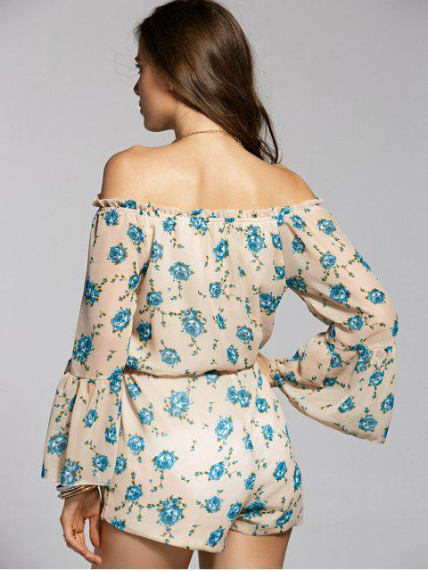 unique Printed Off The Shoulder Flare Sleeve Chiffon Playsuit - APRICOT L Mobile