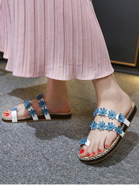 trendy Flat Heel Flower Toe Ring Slippers -   Mobile