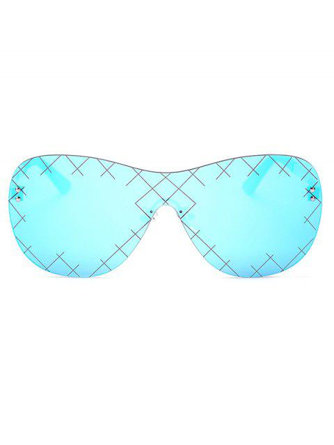 shops Plaid Mesh Mirrored Shield Sunglasses -   Mobile
