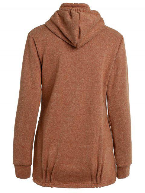 sale Solid Color Long Sleeve Loose Pullover Hoodie - BROWN L Mobile
