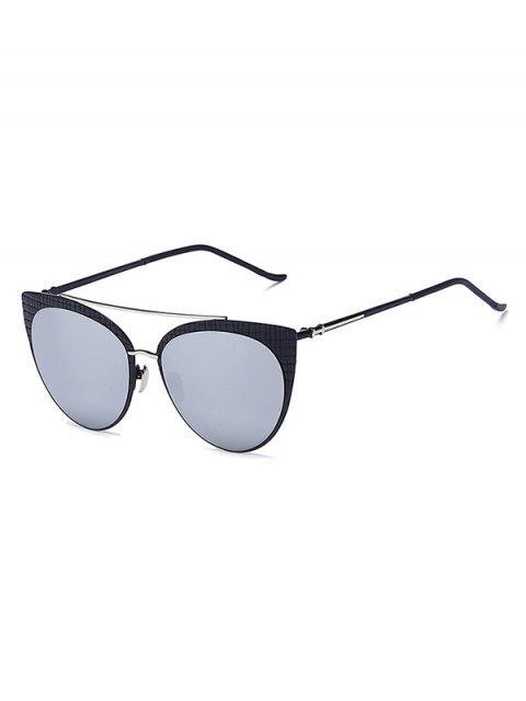 Tela escocesa negra con espejo gafas de sol del ojo de gato - Plata  Mobile