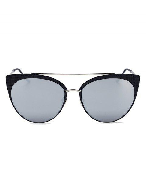 affordable Plaid Black Mirrored Cat Eye Sunglasses - SILVER  Mobile