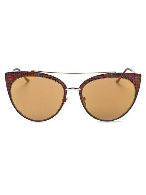 women Plaid Mirrored Cat Eye Sunglasses - TYRANT GOLD  Mobile