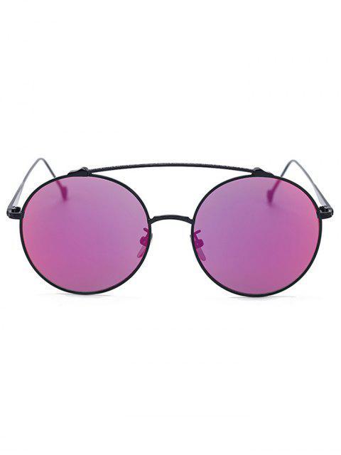 ladies Brow-Bar Black Round Sunglasses - BLACK  Mobile