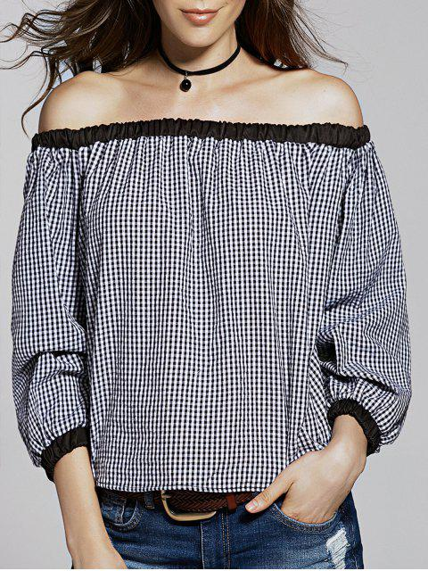 outfit Loose Checked Off The Shoulder Lantern Sleeve T-Shirt - WHITE AND BLACK S Mobile