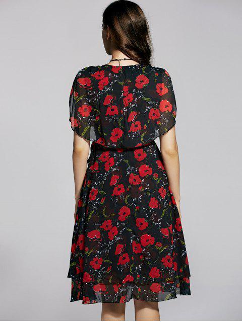 women's Irregular Hem Flower Print V Neck Sleeveless Dress - BLACK S Mobile