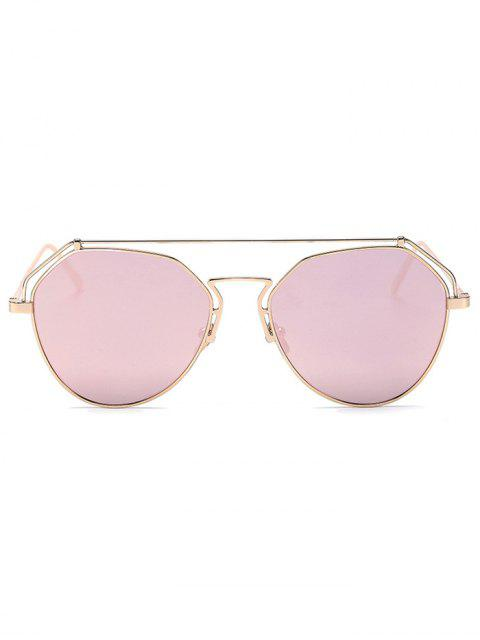 shop Golden Brow-Bar Mirrored Pilot Sunglasses - PINK  Mobile