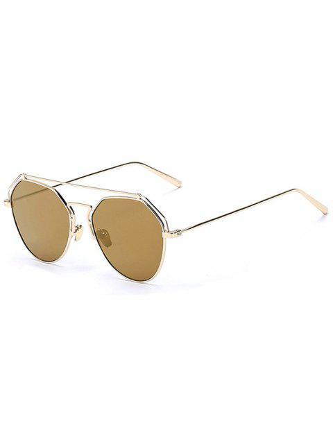 shops Golden Brow-Bar Mirrored Pilot Sunglasses - TYRANT GOLD  Mobile