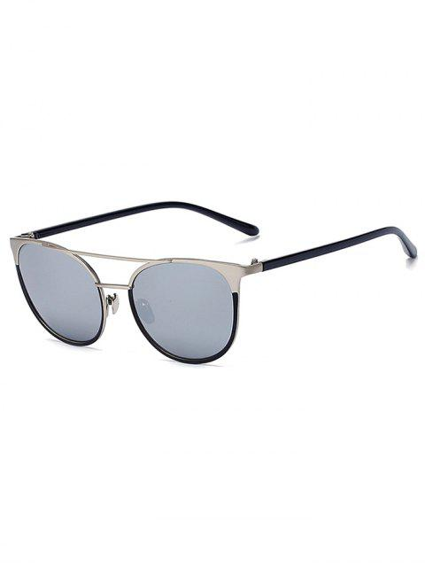 Argent Crossbar Mirrored Cat Eye Sunglasses - Argent  Mobile