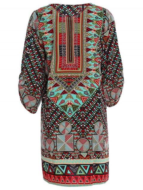 ladies Ethnic Print Jewel Neck Half Sleeve Dress - GREEN M Mobile