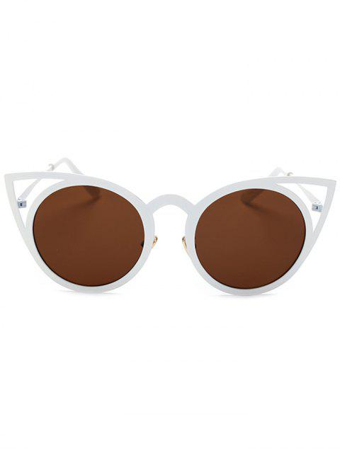 lady Cut Out White Cat Eye Sunglasses -   Mobile
