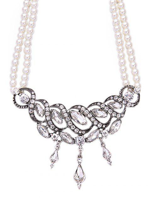 outfit Spiral Faux Pearl Crystal Necklace -   Mobile