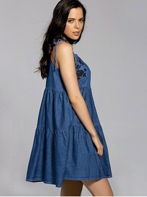 new Bow Tie Shoulder Denim Slip Dress - BLUE S Mobile