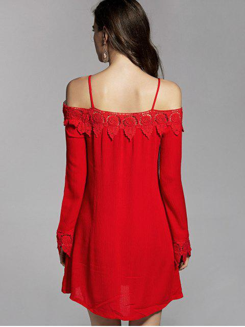 womens Cold Shoulder Lace Trim Dress - RED L Mobile