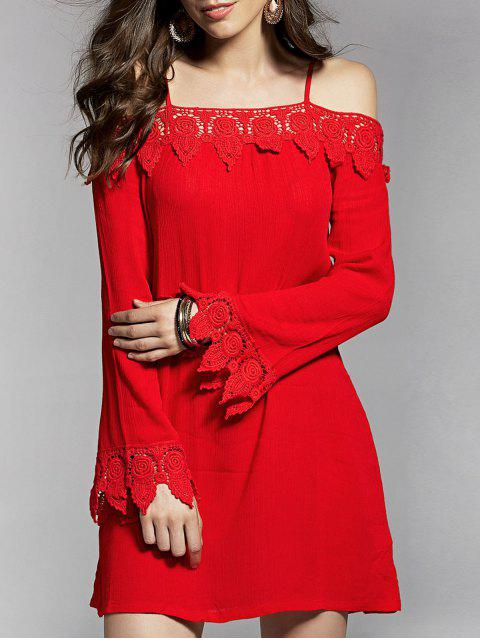 women Cold Shoulder Lace Trim Dress - RED M Mobile