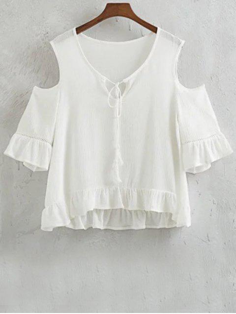 Volantes Cold Shoulder empalmado de cuello redondo de la camiseta - Blanco L Mobile
