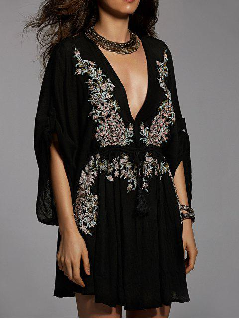 outfits Embroidered Plunging Neck Flare Sleeve Dress - BLACK M Mobile
