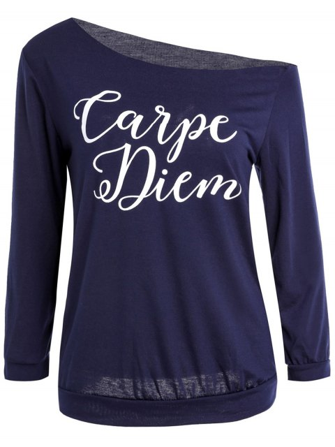 best Slash Neck Letter Print T-Shirt - PURPLISH BLUE L Mobile