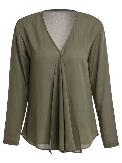 shop Solid Color Pleated V-Neck Long Sleeve Blouse - ARMY GREEN XL Mobile