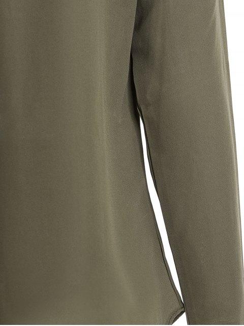 Solide Couleur Plissé V-Neck Blouse manches longues - Vert Armée M Mobile