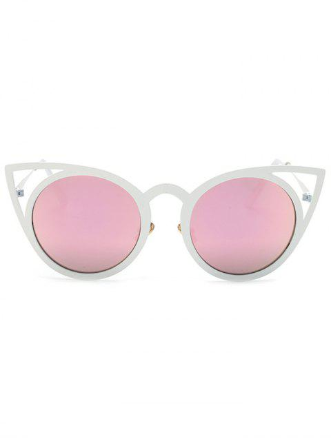 best Cut Out White Cat Eye Mirrored Sunglasses -   Mobile