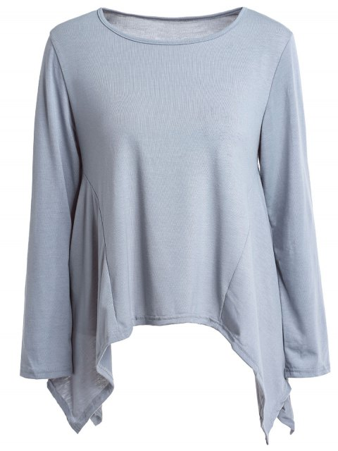 lady High Low Hem Solid Color T-Shirt - GRAY S Mobile
