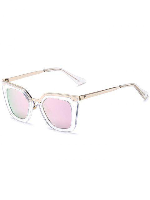 womens Transparent Irregular Mirrored Sunglasses - PINK  Mobile
