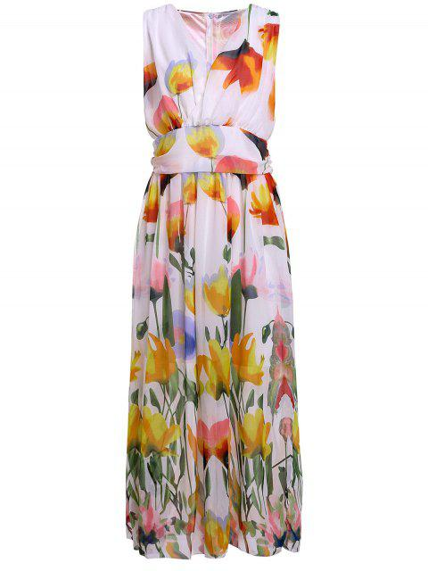 fancy Floral V Neck Sleeveless Maxi Dress - WHITE L Mobile