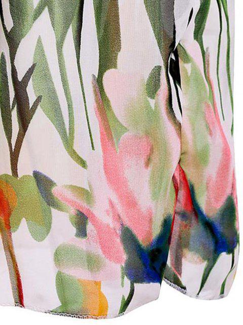 trendy Floral V Neck Sleeveless Maxi Dress - WHITE M Mobile