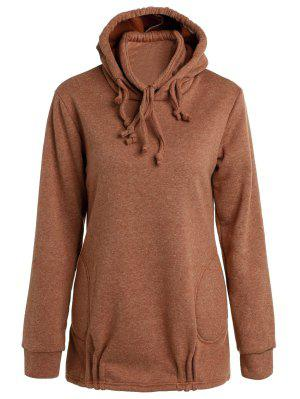 Solid Color Long Sleeve Loose Pullover Hoodie - Brown Xl