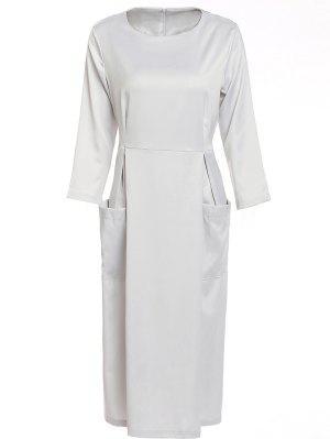 Bateau Collar 3/4 Sleeve Big Pocket Dress - Silver Xl