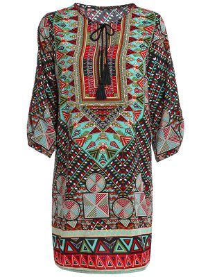 Ethnic Print Jewel Neck Half Sleeve Dress - Green M