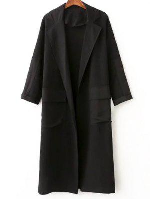 Side Slit Lapel Collar Solid Color Long Coat - Black L