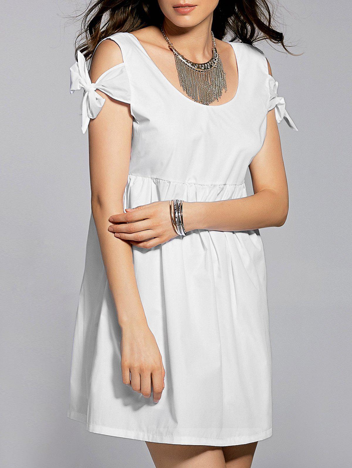 Blanc Scoop Neck Tie Auto Dress