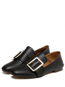 81b83752c0eb 38% OFF  2019 Square Toe Buckle Solid Color Flat Shoes In BLACK 38 ...