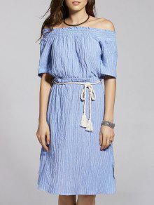 Con Cinturón A Rayas De Manga Corta Con El Vestido De Hombro - Azul M