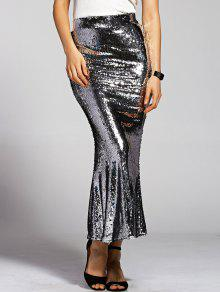 Silver Sequined High Waist Mermaid Skirt - Silver S