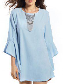Buy Flounce Round Neck Solid Color Dress - BLUE XL