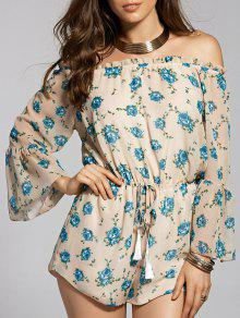 Printed Off The Shoulder Flare Sleeve Chiffon Playsuit - Apricot L