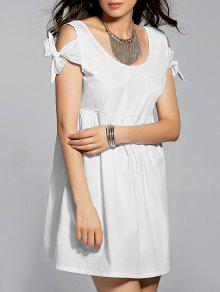 White Scoop Neck Self Tie Dress - White L